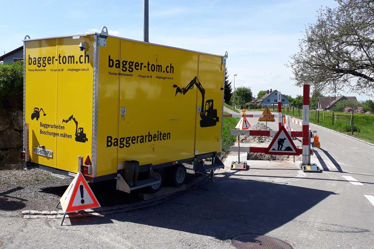bagger-tom Graben, Strassen, Bauten